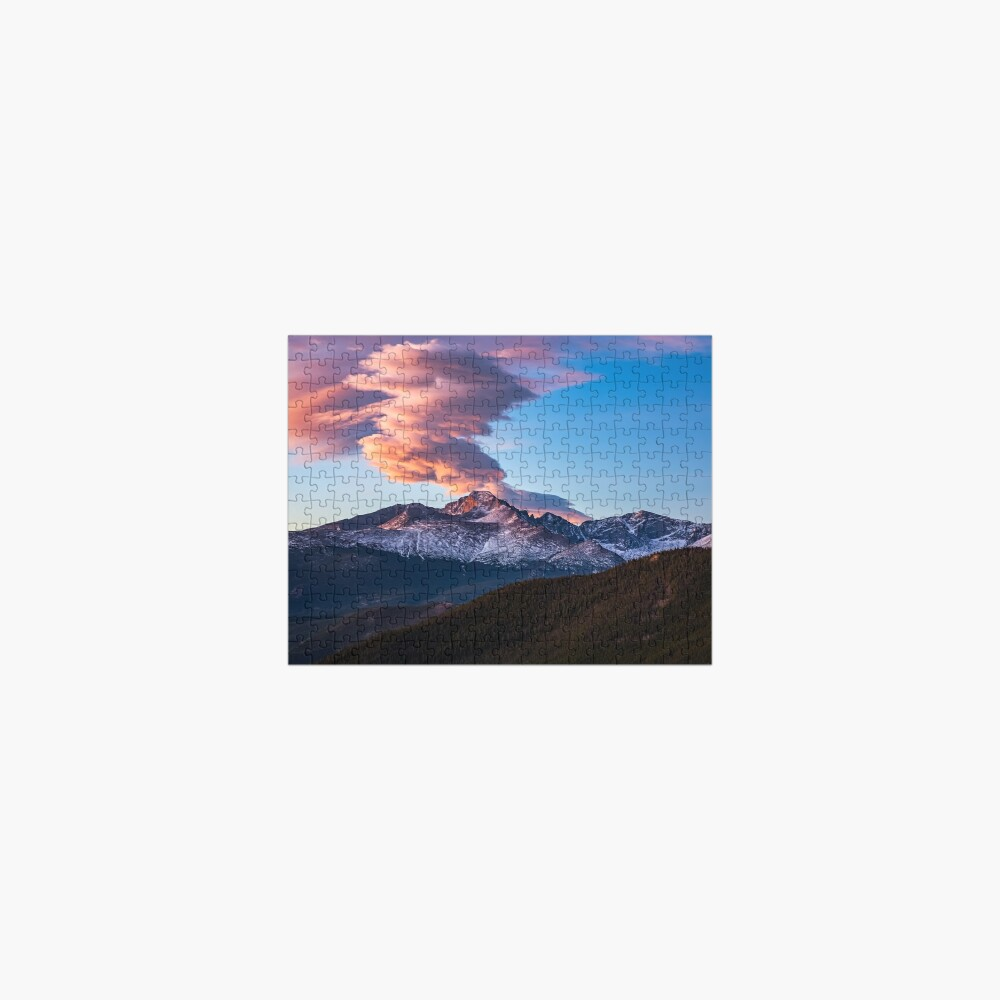 Fire on the Mountain - Sunrise Illuminates Cloud Over Longs Peak in Colorado Jigsaw Puzzle