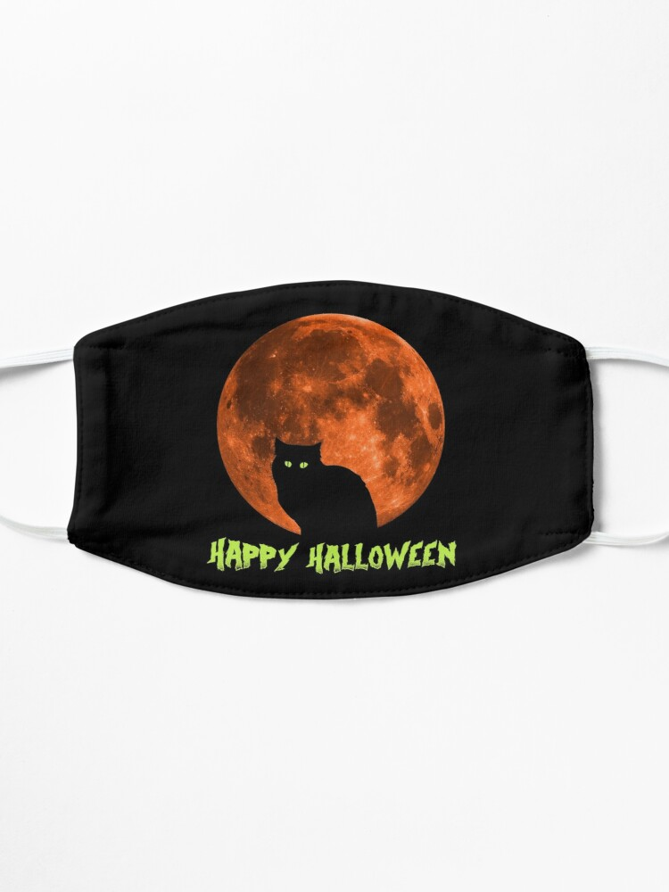 Alternate view of Black Cat   Full Blood Moon   Happy Halloween Mask