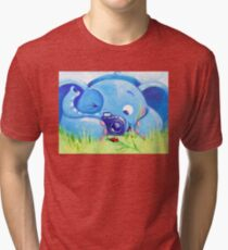 Photographer - Rondy the Elephant with photo camera Tri-blend T-Shirt
