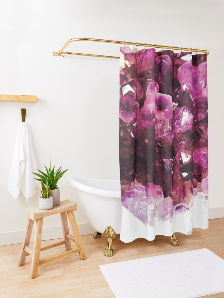 Alternate view of Purple crystal Shower Curtain