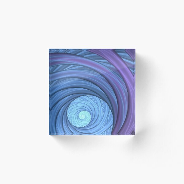 Bright Blue and Purple Spiral Fractal Acrylic Block