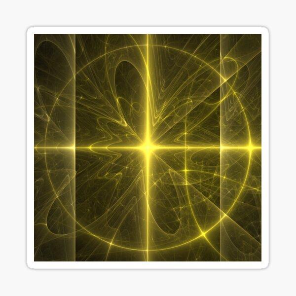 Radiant Yellow Arc Circle Fractal Sun Art Sticker