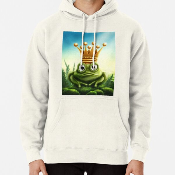 frog prince with gold crown Pullover Hoodie