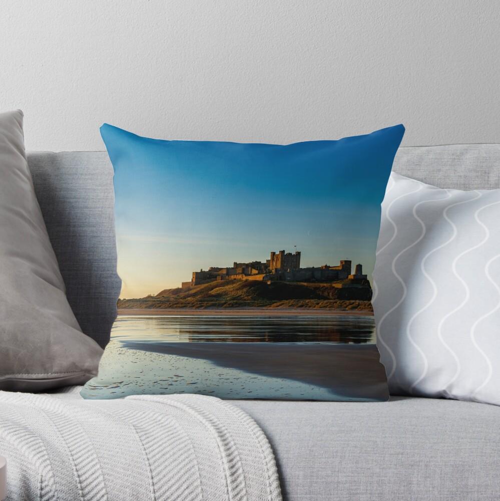 Sunrise over Bamburgh Castle Throw Pillow