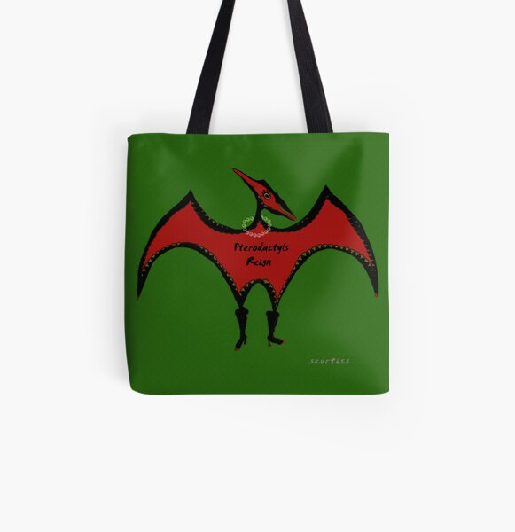 Pterodactyls Reign Green and Cherry All Over Print Tote Bag