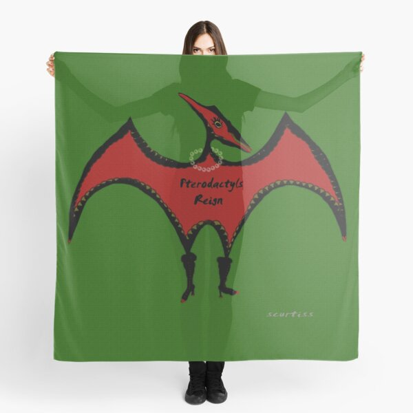 Pterodactyls Reign Green and Cherry Scarf