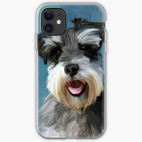 Zwergschnauzer-Hundewasser-Farbkunst-Malerei iPhone Flexible Hülle