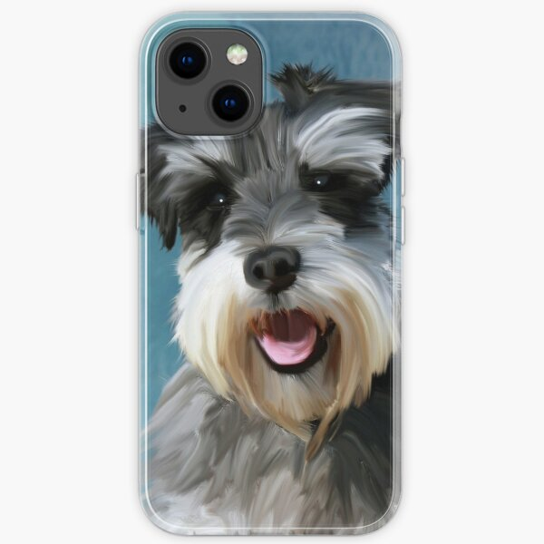 Miniature Schnauzer Dog Water Color Art Painting iPhone Soft Case