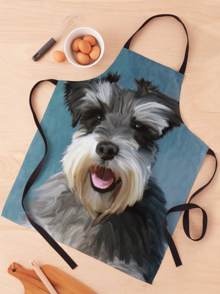 Miniature Schnauzer Dog Water Color Art Painting Apron By Aashiarsh Redbubble