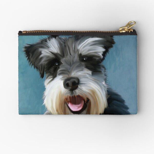 Miniature Schnauzer Dog Water Color Art Painting Zipper Pouch