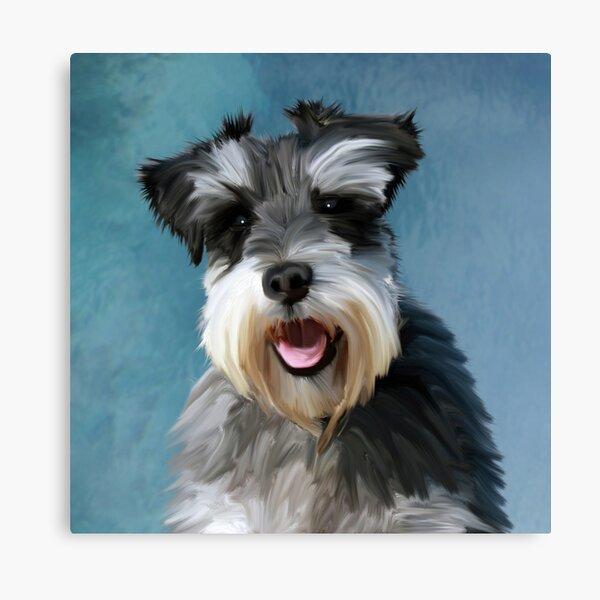 Miniature Schnauzer Dog Water Color Art Painting Canvas Print