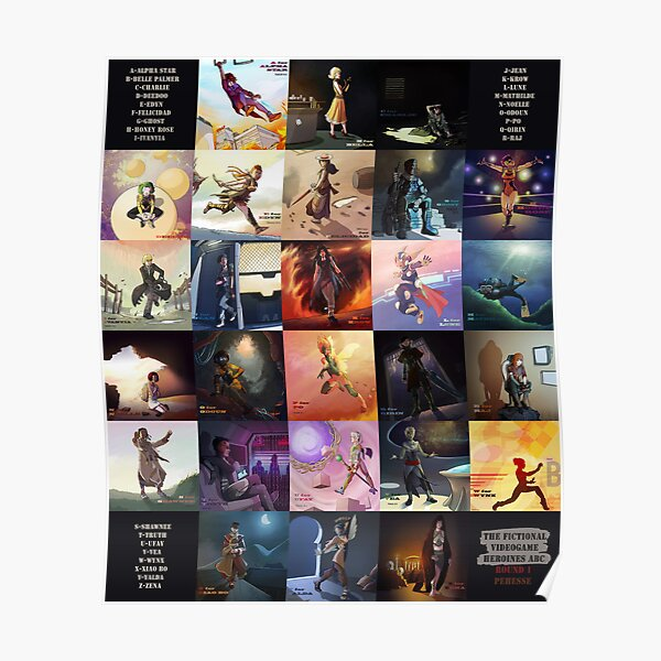 (Fictional) Videogame Heroines ABC Poster