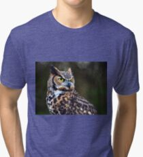 Great Horned Owl Close Up Tri-blend T-Shirt