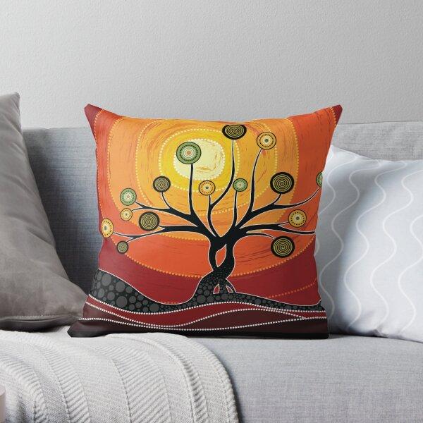 Australian aboriginal art - warm  orange Throw Pillow