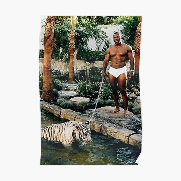 Mike Tyson with a White Tiger pet Poster