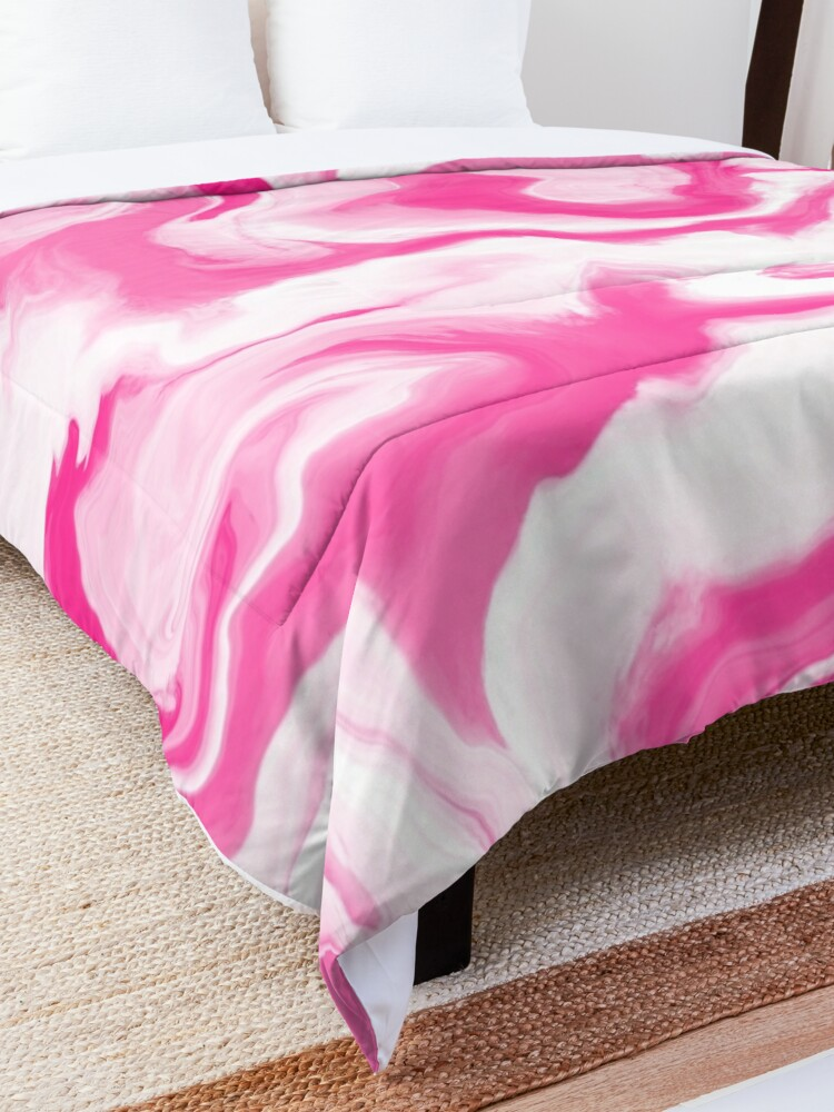 Alternate view of Hot Pink / Pink / White Acrylic Pour Painting Comforter