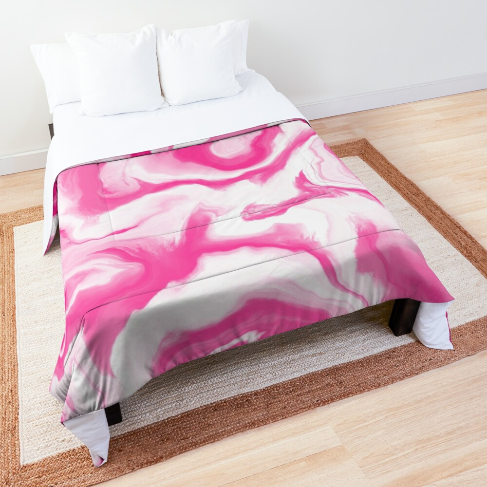 Hot Pink / Pink / White Acrylic Pour Painting Comforter