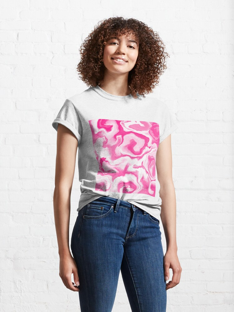 Alternate view of Hot Pink / Pink / White Acrylic Pour Painting Classic T-Shirt