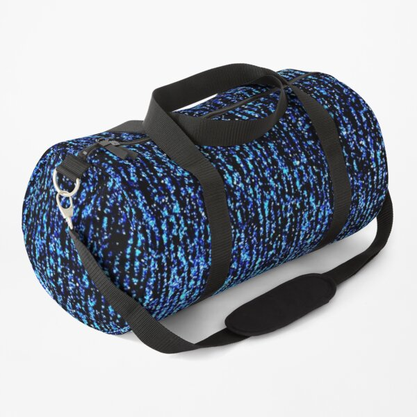 Abstract bright blue pattern on a black background. Duffle Bag