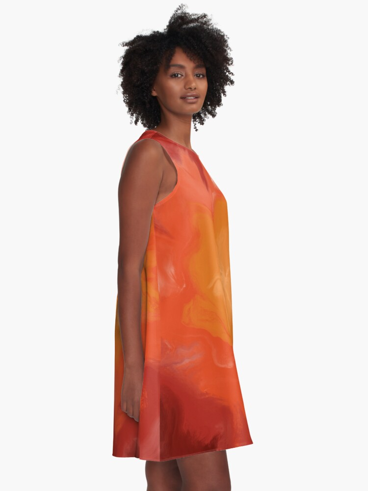 Alternate view of Dark Red / Red / Orange / Yellow Acrylic Pour Painting A-Line Dress