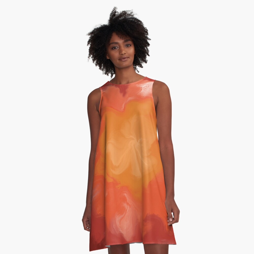 Dark Red / Red / Orange / Yellow Acrylic Pour Painting A-Line Dress