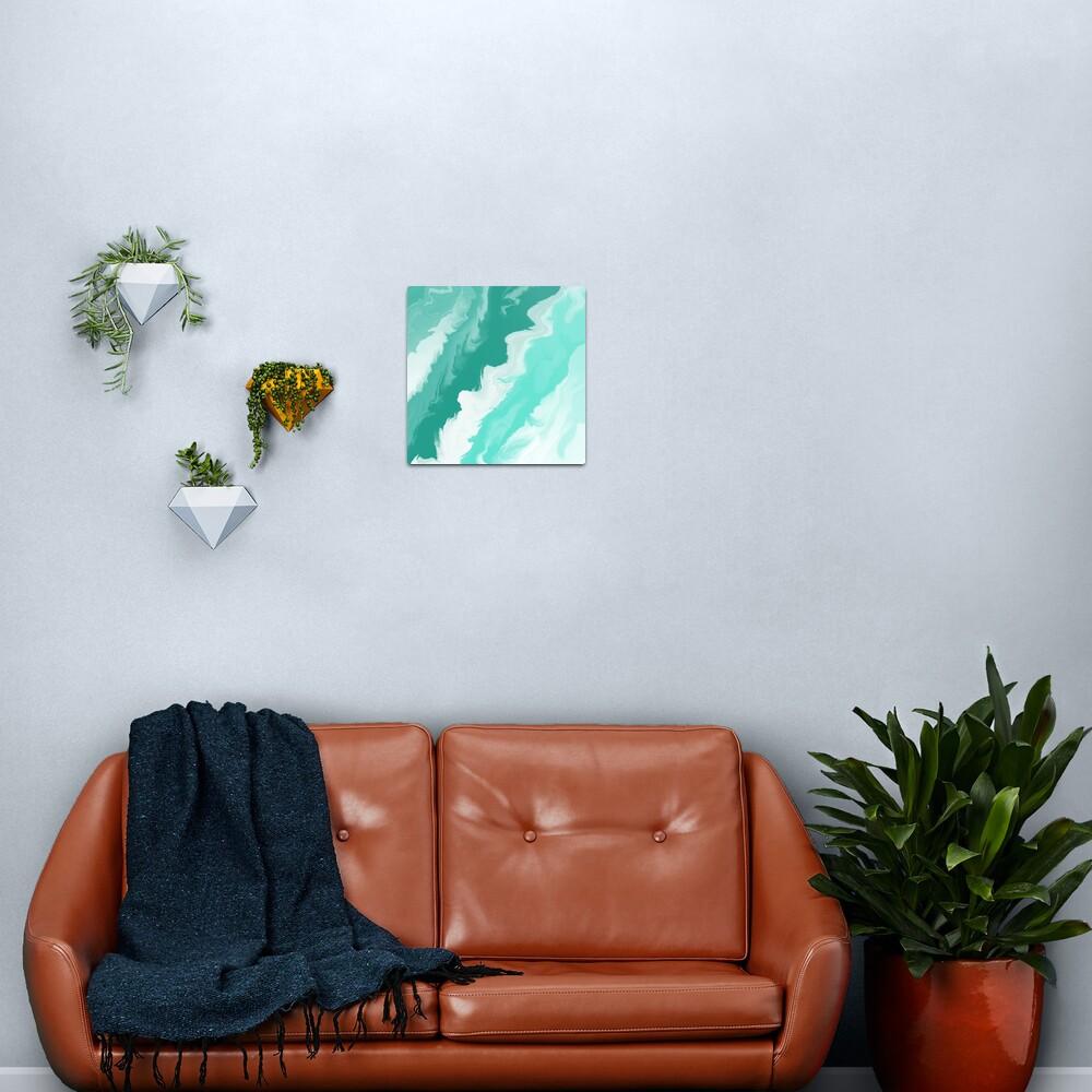 Teal / Seafoam Green / Mint / White Acrylic Pour Painting Metal Print