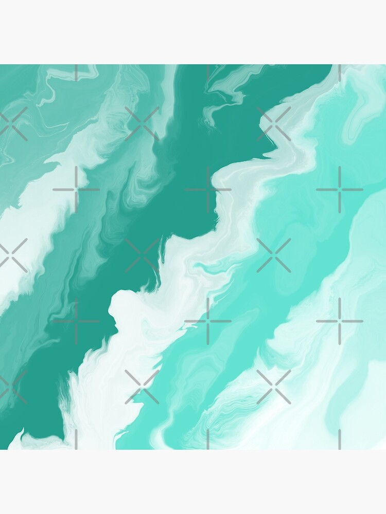 Teal / Seafoam Green / Mint / White Acrylic Pour Painting by abstractnudes
