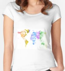 World Map Water Splash Rainbow colors Women's Fitted Scoop T-Shirt