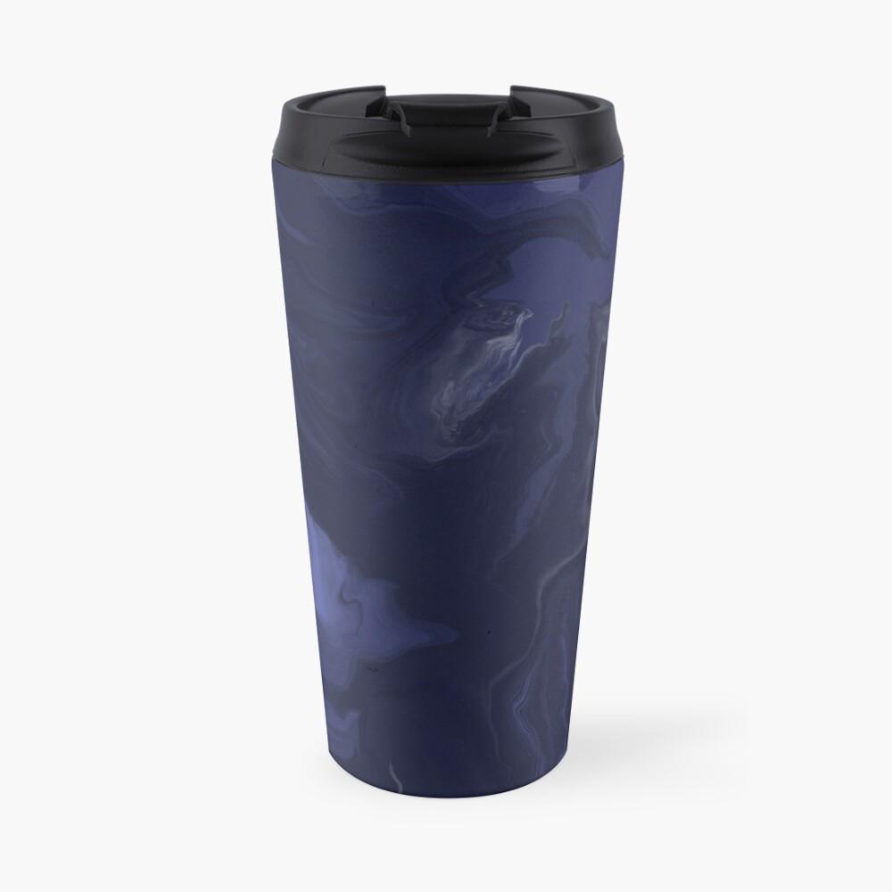 Navy Blue / Denim Blue / Indigo Blue Acrylic Pour Painting Travel Mug