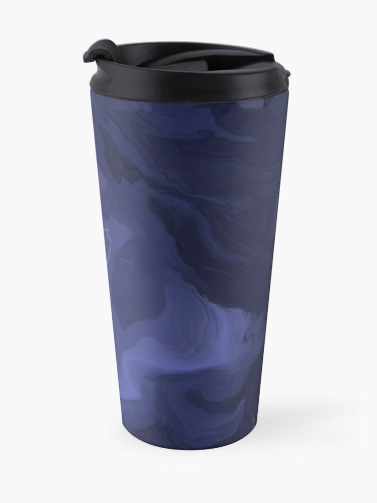 Alternate view of Navy Blue / Denim Blue / Indigo Blue Acrylic Pour Painting Travel Mug