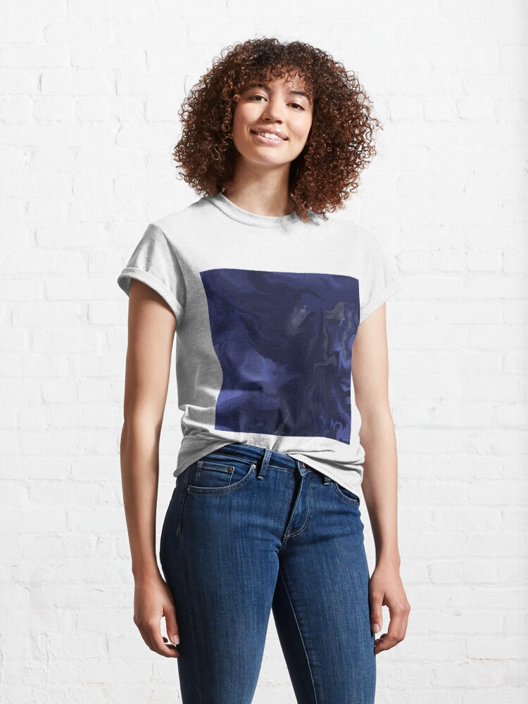 Alternate view of Navy Blue / Denim Blue / Indigo Blue Acrylic Pour Painting Classic T-Shirt