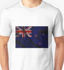 Waving Flag of New Zealand on aged canvas Unisex T-Shirt