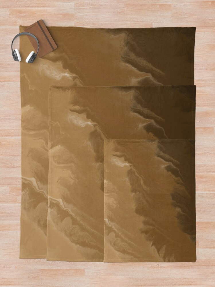 Alternate view of Brown / Tan / Taupe / Beige Acrylic Pour Painting Throw Blanket