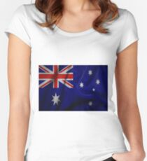 Waving Australian flag on aged canvas Women's Fitted Scoop T-Shirt