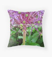 Spikey Lilac and Green Throw Pillow