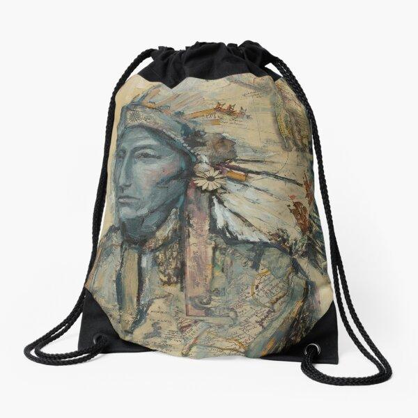Native American Chief Drawstring Bag
