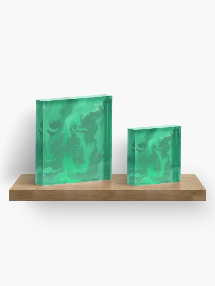 Alternate view of Turquoise / Bright Green / Seafoam Green / Mint Acrylic Pour Painting Acrylic Block