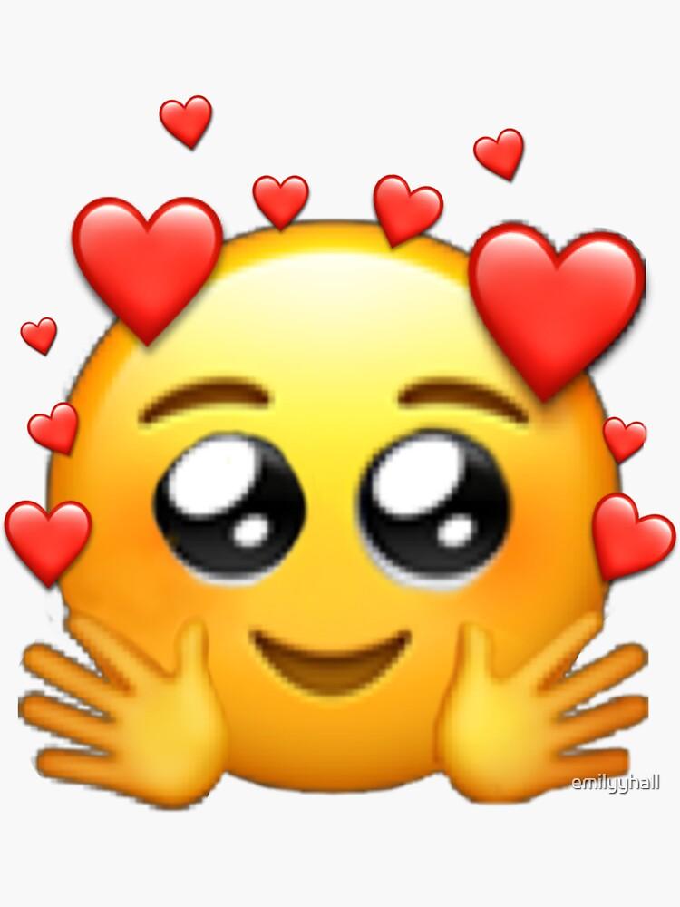 wässrige Herzaugen umarmen Emoji-Aufkleber Sticker von emilyyhall | Redbubble