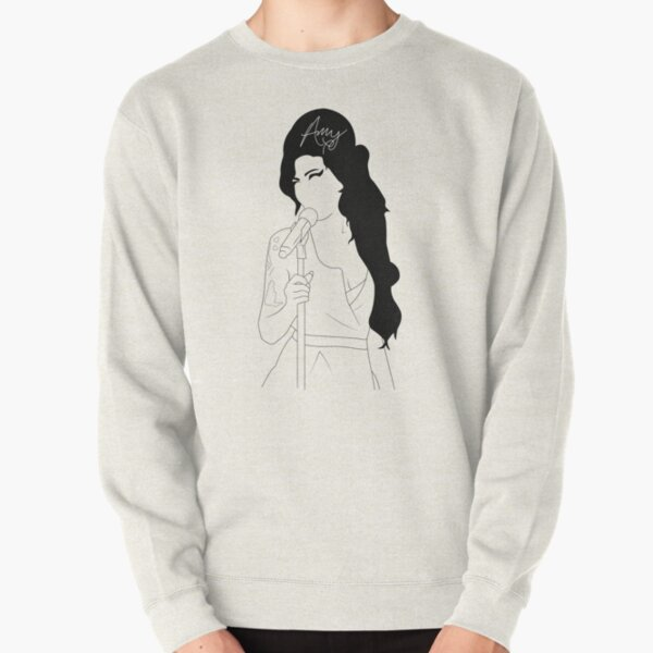 Amy Winehouse Line Drawing with Signiture Pullover Sweatshirt