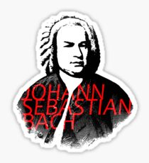 Johann Sebastian Bach vibrant portrait and text Sticker