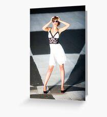 Girl in white short dress Greeting Card