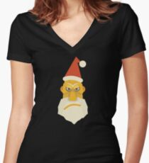 Surly Santa Women's Fitted V-Neck T-Shirt