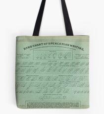 Hand Chart of Spencerian Writing   Tote Bag