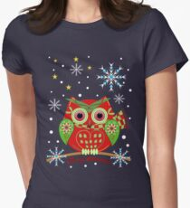 Cute Christmas Owl and Text Tee Women's Fitted T-Shirt