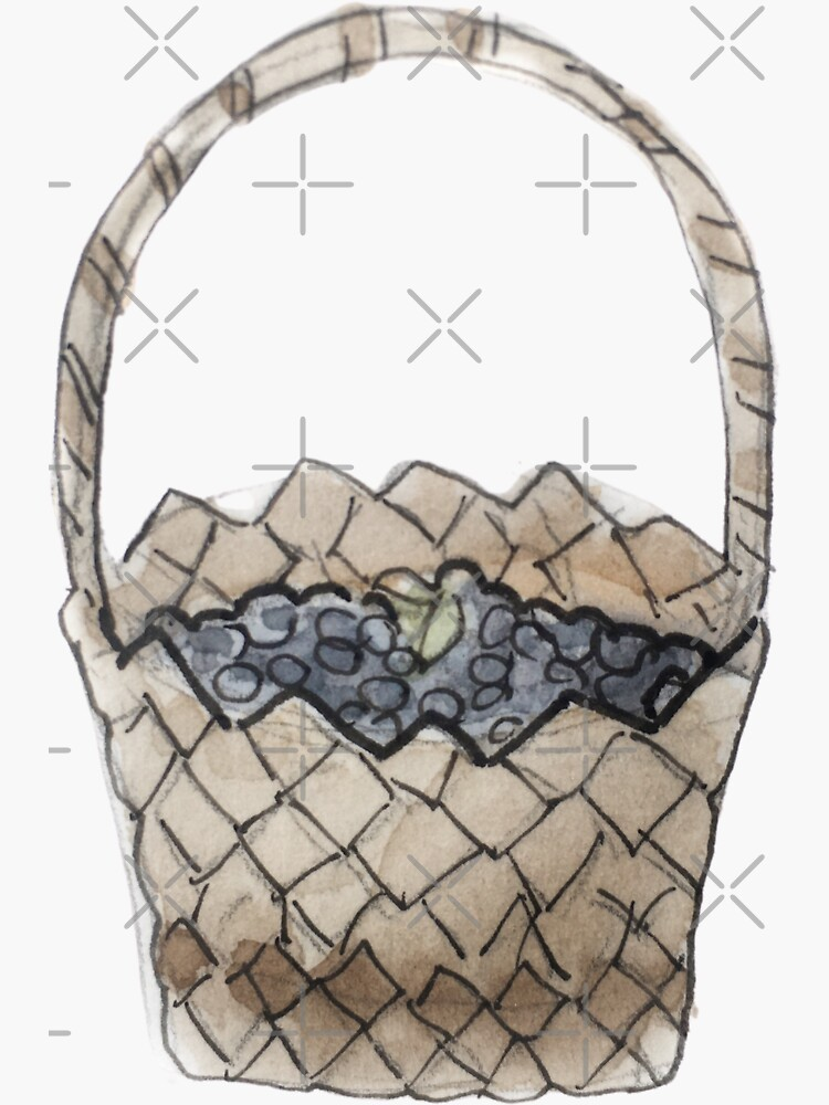 Woven Basket of Blueberries Illustration in Watercolor by WitchofWhimsy