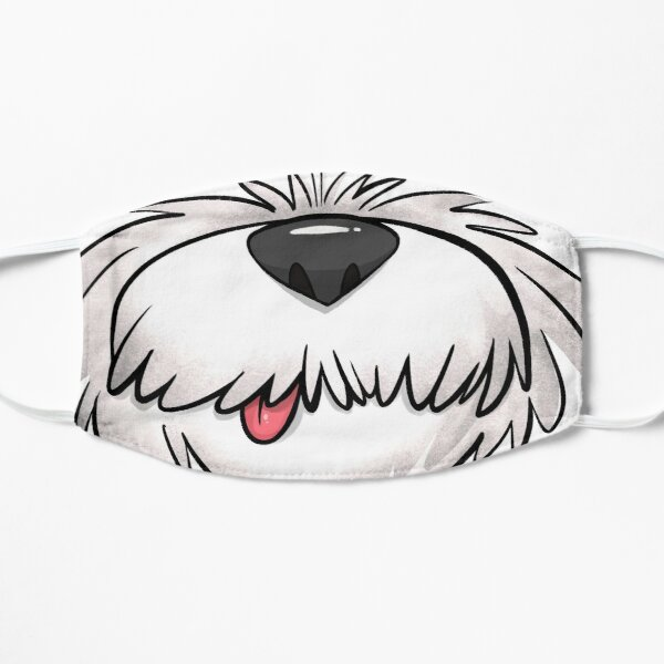 White Fluffy Dog Face Mask  Mask