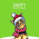 Yorkie Scarf Happy Howl-i-days by offleashart