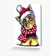 Yorkie Happy Winter Hat & Scarf Greeting Card