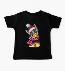 Yorkie Happy Winter Hat & Scarf Baby Tee