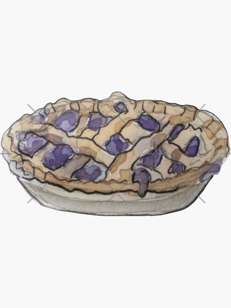 Blueberry Pie with Criss Cross Pattern Illustration in Watercolor by WitchofWhimsy